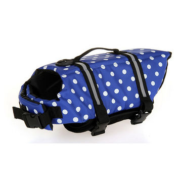 Dog life Jacket Safer Vest Swimming Jacket Flotation Float life Jacket Blue Point XXS