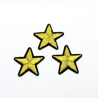 Set of 3 pcs Golden Star Patch Star patch Embroidered patch Iron on patch sew on patch Applique