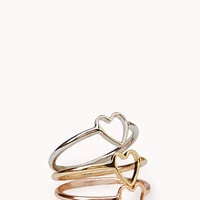 Dainty Heart Midi Ring Set