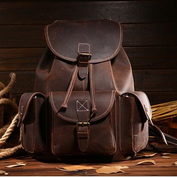 Top Quality Crazy Horse Cowhide First Layer Knapsack Male Computer Bag School Bags Vintage Genuine Leather Rucksack Men Backpack