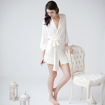 Lace bridal robe -Stella  - ready to ship