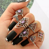 7 PC Amethyst Aura Boho Ring Set