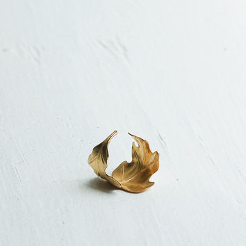 Golden LEAF Ring Romantic Vintage Style Leaf Autumn OAK Tree Fall