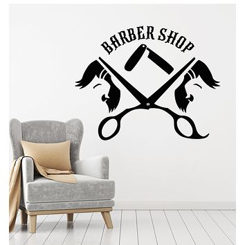 Vinyl Wall Decal Haircuts Shaves Barber Shop Tools Elements Hair Stickers Mural (g2667)