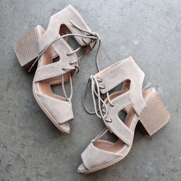 lace-up cutout heeled sandal - taupe