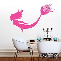 Wall Decal Vinyl Sticker Decals Art Home Decor Murals Mermaid Nymph Sea Animal Hair Beauty Water Nature Fish Nursery Children Bedroom Bathroom Dorm Window Office Decals AN290