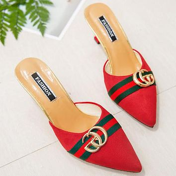 "Hot Sale ""GUCCI"" Popular Women Suede Metal Pointed High Heels Sandals Red"
