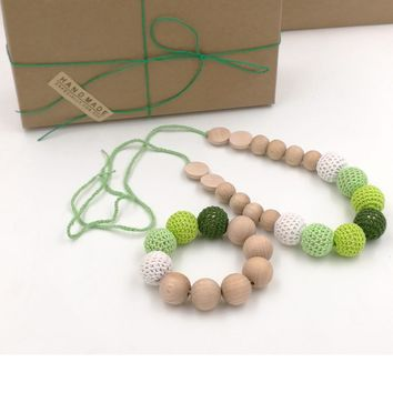 gift box 1PC SALE EVERYDAY Yellow green crochet teething necklace, Plain beech wooden beads baby toy baby teether ENS02