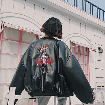 Women Loose Fashion Embroidery Letter Pink Panther Long Sleeve Zip Cardigan Leather Jacket Coat