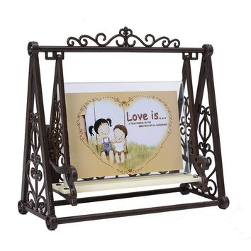 2017 Creative Vintage LOVE Swing Couple Decoration frame 5inch Retro plastic Craft Photo frame Home Ornaments porta retrato Gift