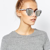 Quay Australia My Girl Exclusive Mirror Cat Eye Sunglasses in Marble Frame