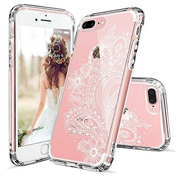 iPhone 7 Plus Case, iPhone 8 Plus Case, iPhone 7 Plus Clear Case, MOSNOVO White Floral Henna Paisley Flower Clear Design Case with TPU Bumper Case Cover for iPhone 7 Plus (2016) / iPhone 8 Plus (2017)