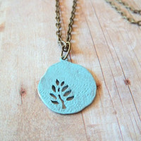 T U R Q U O I S E - Turquoise Blue Hand Painted Antique Bronze Round Tree Cutout Pendant Necklace