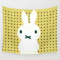 My Lips Are Sealed (Polka Dot Version) Wall Tapestry by Bunhugger Design