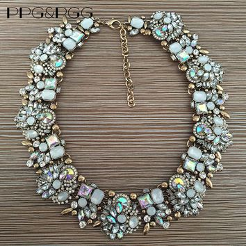 PPG&PGG Rhinestone Flower Necklaces Women Fashion Crystal Jewelry Charm Choker Statement Bib Collar Necklace 2018