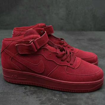 Nike Air Force 1 Mid '07  Trending Running Sport Fashion Casual High Tops Sneakers Shoes  Wine red G-XYXY-FTQ