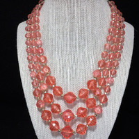 Lucite Transparent Pink Bead Necklace Graduated Faceted Beads Multi Strand Mid Century Vintage Beaded Jewelry, Costume Jewellery 418
