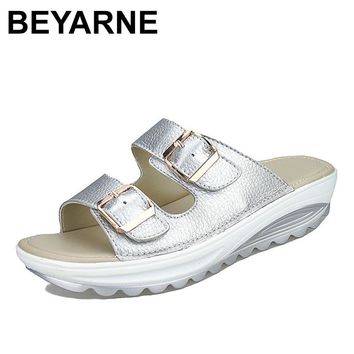Womens Sandals Slippers Buckle Beach Summer Wedges Platform Shoes