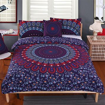 5pcs Bed in a Bag Floral Bedding Set Queen Size Mandala Pattern Duvet Cover Boho Luxury Bed Set
