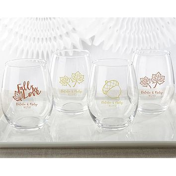 Personalized 15 oz. Stemless Wine Glass - Fall