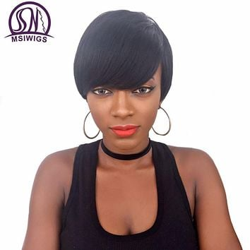 MSIWIGS Short Straight Wigs for Black Women Heat Resistant African American Black Synthetic Wig Cosplay With Bangs Two Models