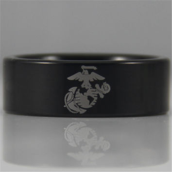 Free Shipping USA UK Canada Russia Brazil Hot Sales 8MM Black Pipe Army Ring USMC Design Men's Tungsten Comfort Fit Ring