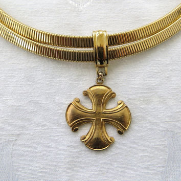 Givenchy Maltese Cross Necklace, Omega Chain, Vintage Malta Cross Choker Necklace, Designer Signed Jewelry, Paris Jewelry