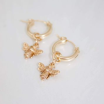 Katie Waltman Jewelry - Honey Bee and Hoop Earring