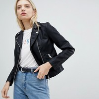New Look Leather Look Biker Jacket at asos.com