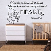 Wall Decals Quote Sometimes the smallest Decal Sticker Winnie The Pooh And Friend Nursery Quotes Kids Bedroom Home Decor Art Mural Playroom SM154