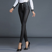Women PU Leather trousers pants 2016Autumn New Fashion Brand Stretchy thick High waist Skinny Ladies  Black leather Pencil pants