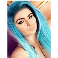 Long Fantasy Ombre Blue Synthetic Lace Front Wig