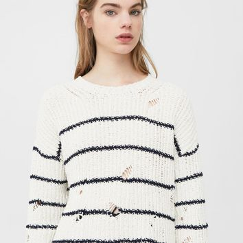 Ripped cotton sweater
