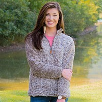 Heathered Quarter Zip Sherpa Pullover in Walnut Brown by The Southern Shirt Co. - FINAL SALE