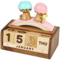 Little Twin Stars Wooden Block Perpetual Desk Calendar Sanrio -Wood Office Decor
