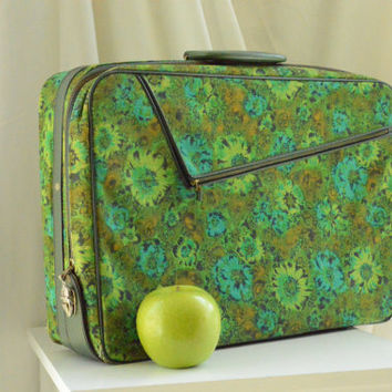 Retro Floral Green Luggage Briefcase or Carry On Bag