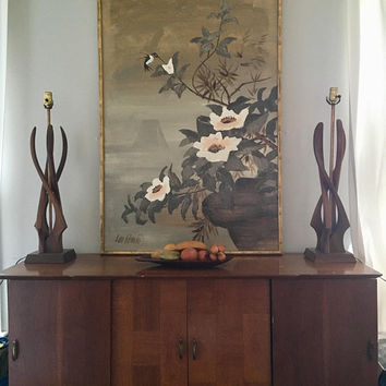 Large Abstract Floral Painting, Gold Bamboo Framed Artwork, 50 x 32 Modern Bird Wall Decor, Vintage Lee Reynolds Painting