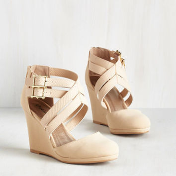 Minimal Boost Your Bliss Wedge in Beige by ModCloth