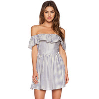 Blue And White Stripes Flounced Off Shoulder Waist Swing Dress