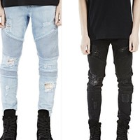 Ripped Holes Slim Elastic Jeans [6850010691]