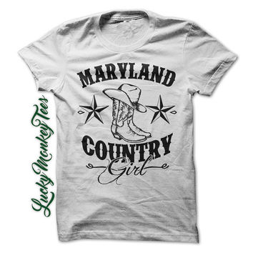 Maryland Country Girl Shirt Redneck Line Dancing Cowboy Boots Womens Ladies Girls T-Shirt Tee Shirt