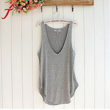 Fashion Summer Crop Tops Women Lady Sleeveless V-Neck Candy Vest Loose Tank Tops