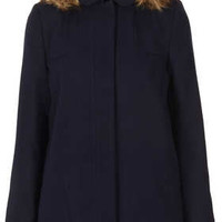 Fur Hooded Swing Coat - Navy Blue