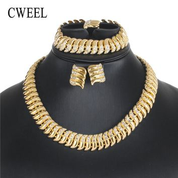 CWEEL Jewelry Sets Vintage African Jewelry Set Gold Color Choker Turkish Ethiopian Bridal For Women Dubai Wedding Jewelry Set