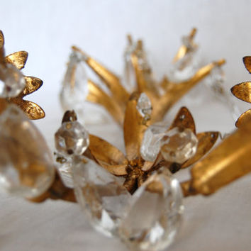 SALE WAS 275.00 - Vintage Italian Tole Wall Sconce, Vintage Pair Italian Tole Crystal Sconce, Candle Sconce from The Eclectic Interior