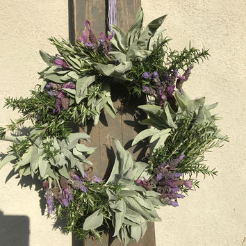 Fresh herb wreath, lavender wreath, rosemary, sage, gift for her, housewarming, birthday gift, book club gift, handmade wreath, made in USA