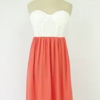 Coral and White Strapless Bustier Top Dress