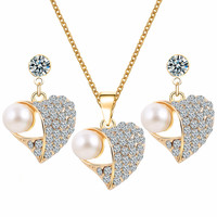 Fashion Crystal Jewelry Sets For Women Heart Necklace Earrings Jewlery sets Gold Pearl Pendant  jewellery set