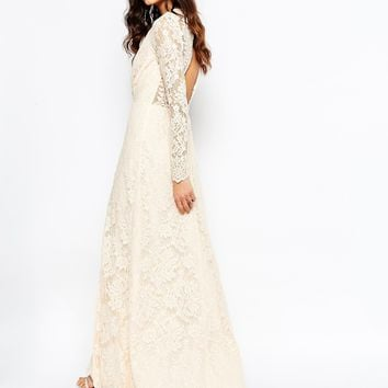 The Jetset Diaries Pizzo Lace Wrap Maxi Dress in Blush