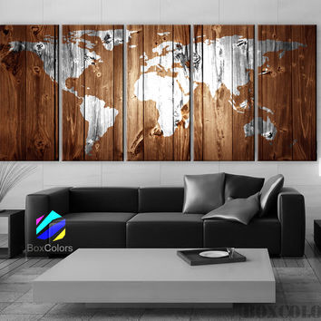 "XLARGE 30""x 70"" 5 Panels Art Canvas Print Original Wood Texture Map vintage Brown White Wall decor Home interior (framed 1.5"" depth)"